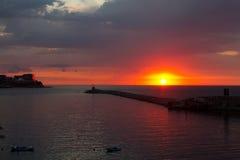Sunset over Zonguldak Port Royalty Free Stock Photos