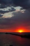 Sunset over Zonguldak Port Royalty Free Stock Image