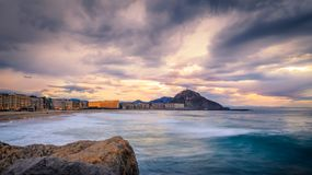 Free Sunset Over Zurriola Beach, Donostia, Euskadi, Spain Stock Photography - 120915302