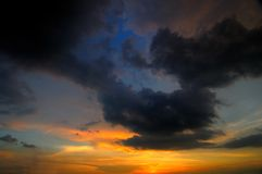 Sunset during overcast weather Stock Photography