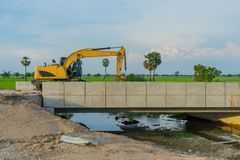 Before sunset at Overpass Construction for motorway Kanchanaburi. Thailand royalty free stock image