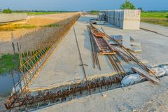 Before sunset at Overpass Construction for motorway Kanchanaburi. Thailand royalty free stock photography