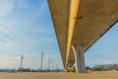 Before sunset at Overpass Construction for motorway Kanchanaburi. Thailand royalty free stock images