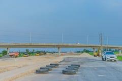 Before sunset at Overpass Construction for motorway Kanchanaburi. Thailand stock photo