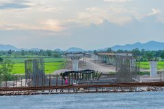 Before sunset at Overpass Construction for motorway Kanchanaburi. Thailand stock images