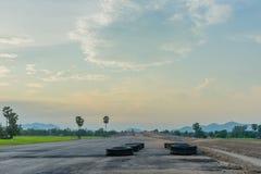 Before sunset at Overpass Construction for motorway Kanchanaburi. Thailand royalty free stock photos