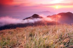 Sunset oveture on Mt.Datun Stock Images