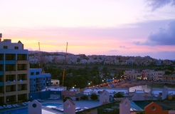 Sunset of  Paceville, Saint Julians Bay in Malta.  Royalty Free Stock Photos