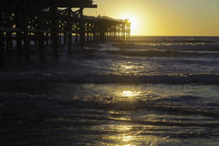 Sunset at pacific beach pier Royalty Free Stock Photography