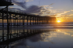 Sunset at pacific beach pier Stock Photography