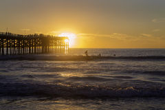 Sunset at pacific beach pier Royalty Free Stock Image
