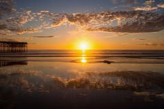 Pacific beach sunset Royalty Free Stock Photos