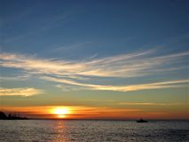 Sunset in the Pacific. Chile royalty free stock photos