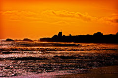 Sunset on Pacific Ocean in California Stock Photography