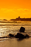 Sunset on Pacific Ocean in California. Sunset on the Pacific Ocean on the Malibu Coast of California Stock Images