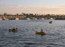 Sunset Paddle. Paddling at twilight in Marina Del Rey,Ca. Harbor Royalty Free Stock Photo