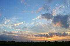 Sunset in paddle field Royalty Free Stock Photography