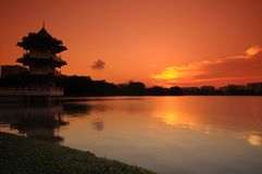 Sunset and pagoda in the park. S Royalty Free Stock Images