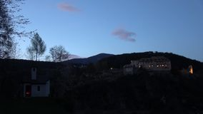 Sunset at Palace Sonnenburg,  Trentino-Alto Adige, Italy. Palace Sonnenburg is a former castle in St. Lorenzen in Trentino-Alto Adige in Italy stock footage
