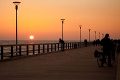 Sunset on Palanga pier Royalty Free Stock Image