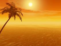 Sunset_Palm ilustração do vetor