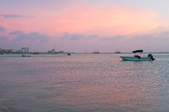 Sunset at Palm Beach on Aruba island Stock Image