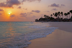 Sunset at Palm Beach on Aruba island. In the Caribbean Royalty Free Stock Photos
