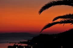 Sunset with palm leaves Stock Images