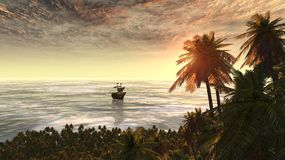 Sunset with palm trees. Beautiful image with nature and ship Royalty Free Stock Photos