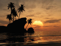 Sunset Palm Trees. Silhouette of palm trees and rocks, with soft flowing waves in front Stock Images