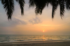 Sunset with Palm trees silhouette in Chang island or Koh Chang Royalty Free Stock Images