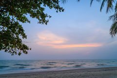 Sunset with Palm trees silhouette in Chang island or Koh Chang Stock Image