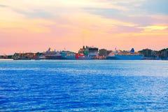 Sunset in Palma de Majorca port in Mallorca Royalty Free Stock Photo