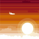 Sunset palne. Vector illustration of sunset palne Royalty Free Stock Photos