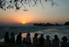 Sunset at Pamukkale Stock Photography