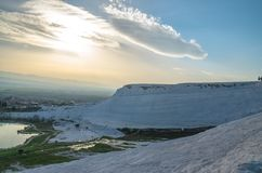 Sunset in Pamukkale stock photography