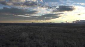 Sunset Pan of Mountain Range stock footage