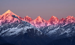 Sunset at panchachuli peaks Stock Photography