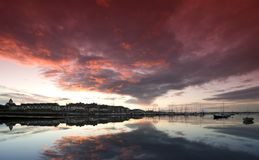 Sunset panorama. Evening sky at Malahide Marina Harbour, Ireland Stock Photos