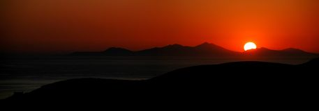 Sunset Panorama. Panorama of sunset over the greek islands Stock Image