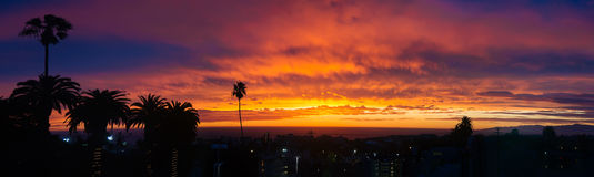 Sunset panorama above Hermosa beach Royalty Free Stock Images