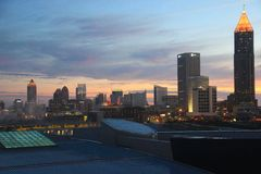 Sunset panorama of Atlanta skyline Royalty Free Stock Photo