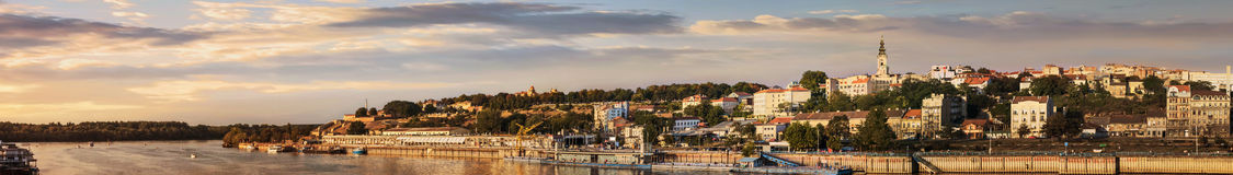 Belgrade Sunset Panorama. Belgrade panorama at sunset, with Tourist port on Sava river, with Kalemegdan fortress and St. Michaels Cathedral bell tower, Belgrade royalty free stock photo