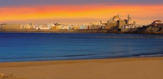 Sunset Panorama of Cadiz, Spain Royalty Free Stock Photography