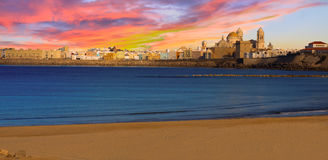 Sunset Panorama of Cadiz, Spain Stock Image