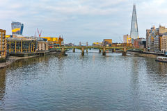 Sunset panorama of city of London and Thames river, England Royalty Free Stock Photography