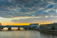 Sunset panorama of city of London and Thames river, England Royalty Free Stock Image