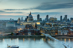 Sunset panorama of city of London, Thames river and St. Paul's Cathedral, England Stock Image