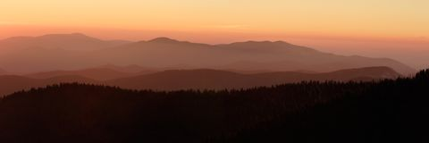 Sunset Panorama from Clingman's Dome. The abstract mountain layers painted by sunset, Smoky Mountains Nat. Park, USA stock photography