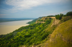 Sunset Panorama Countryside River Green Summer Romania Royalty Free Stock Image